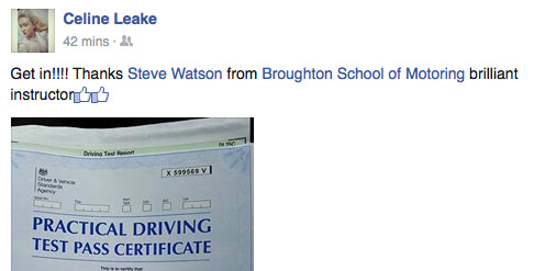 Celine took driving lessons in Scunthorpe with the Broughton School of Motoring