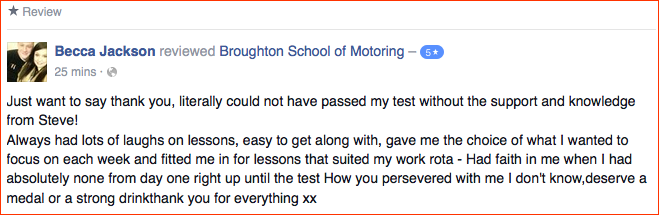 Becca reviewed the Broughton School of Motoring