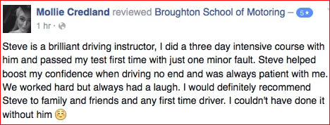 Mollie took an intensive course of driving lessons and passed...in three days!